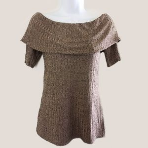 Juicy Couture Brown Off Shoulder Top w/ Sleeves
